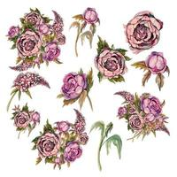 Set of delicate watercolor flowers. Roses peonies lilacs.