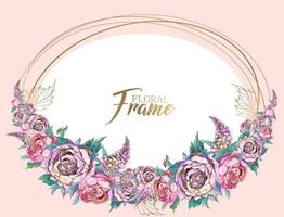 Oval frame with a garland of peonies and lilacs. vector