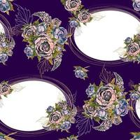Seamless pattern with gold frames and bouquets of flowers.