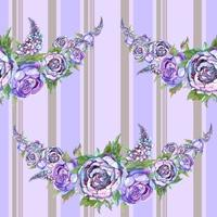 Watercolor pattern. Garland of flowers.