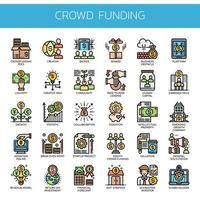 Crowdfunding Thin Line Icons
