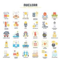 Nuclear Elements Flat Color Icons vector