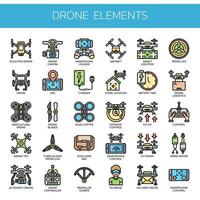 Drone elements Thin Line Color Icons