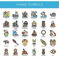 Hawaii Symbols  Thin Line Color Icons
