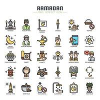 Ramadan Elements Thin Line Color Icons