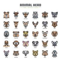 Animal Head Thin Line Color Icons