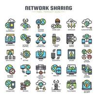 Network Sharing Thin Line Color Icons vector