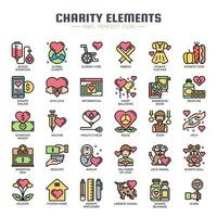 Charity Elements Thin Line Icons