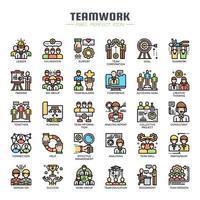 Iconos de línea fina de trabajo en equipo