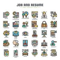 Job and Resume Thin Line Color Icons