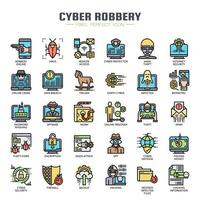 Cyber Robbery Thin Line Icons de couleur