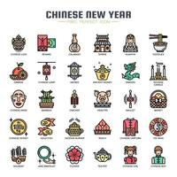 Chinese New Year Thin Line Icons vector