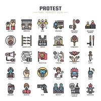 Protest Elements Thin Line Couleur contre