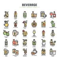 Beverage Thin Line Color Icons