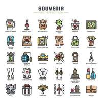 Souvenir Elements Thin Line Icons vector