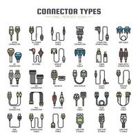 Connector Types Thin Line Icons vector