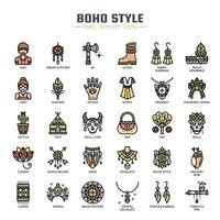 Boho Style Thin Line Icons vector