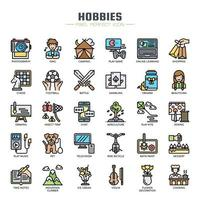 Hobbies Elements Thin Line Icons vector
