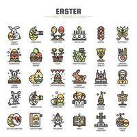 Icone di sottile linea di elementi di Pasqua