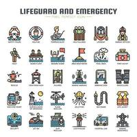 Lifeguard and Emergency Service Thin Line Icons