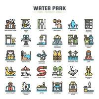Water Park Thin Line Icons vector