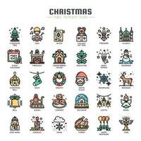 Christmas Elements Thin Line Icons