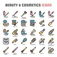 Beauty and Cosmetics Thin Line Icons