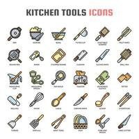 Kitchen Tools Thin Line Icons