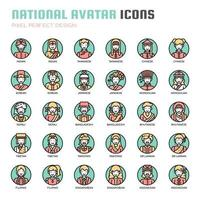 Nationale Avatar dünne Linie Icons