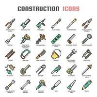 Construction Tools Thin Line Icons