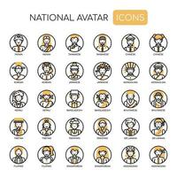 National Avatar Thin Line Monochrome Icons vector