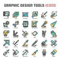 Outils de conception graphique Thin Line Icons
