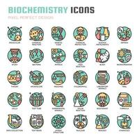 Biochemistry Thin Line Icons vector