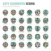 City Elements Thin Line Icons