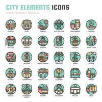 Ícones de linha fina de elementos da cidade