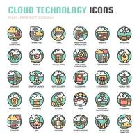 Cloud Technology Thin Line Icons