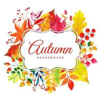 Beautiful Watercolor Autumn Leaves Frame
