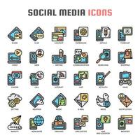 Social Media  Thin Line Color Icons vector