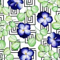 Aquarelle Memphis Floral Background