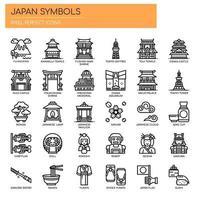 Ícones de linha fina de símbolos do Japão