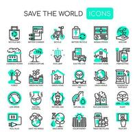 Save The World Dunne lijn zwart-wit pictogrammen