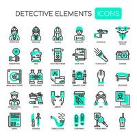 Detective Elements Thin Line Icons