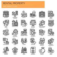 Rental Property Investing Thin Line Icons vector