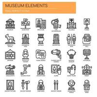 Museum Elements Thin Line Icons