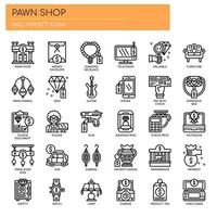 Pawn Shop Thin Line Icons vector