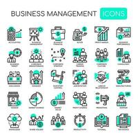 Business Management Monochrome Thin Line Icons