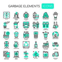 Garbage Elements Thin Line Monochrome Icons