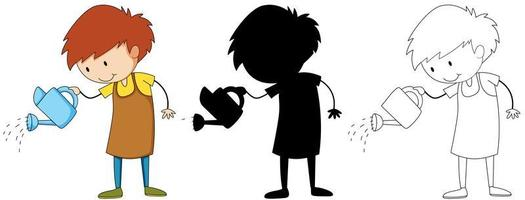 A set of boy with watering can in color, silhouette and outline
