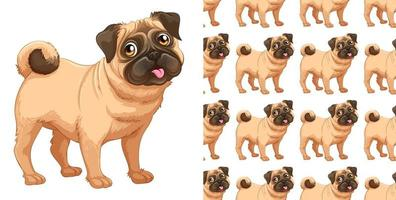 Seamless and isolated pug dog pattern vector