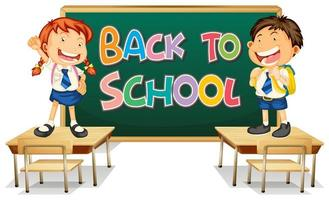 Back to school template with students in front of chalkboard standing on desks vector